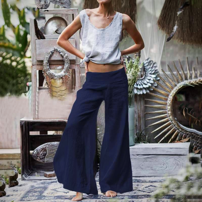 RETRO LINEN LONG TROUSER