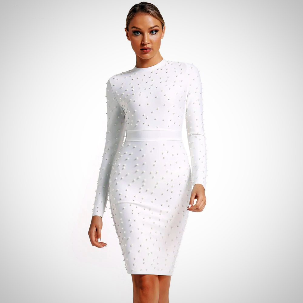 Studded White Bandage Party Dress