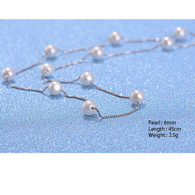 SILVER 12 PCS 6MM PEARL BOX CHAIN NECKLACE