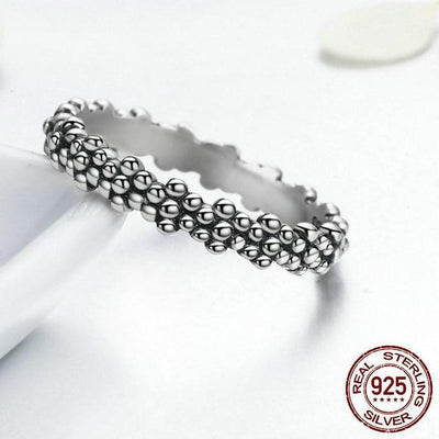Classic Plant Sterling Silver Stack Ring