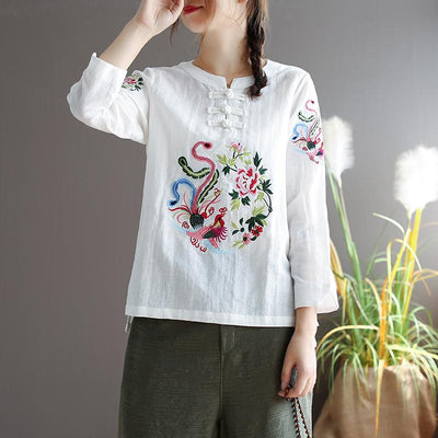 PLUS SIZE VINTAGE EMBROIDERY TOP