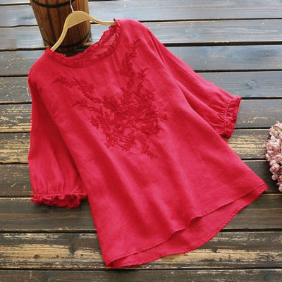 CASUAL PLUS SIZE RUFFLE EMBROIDERED TOP