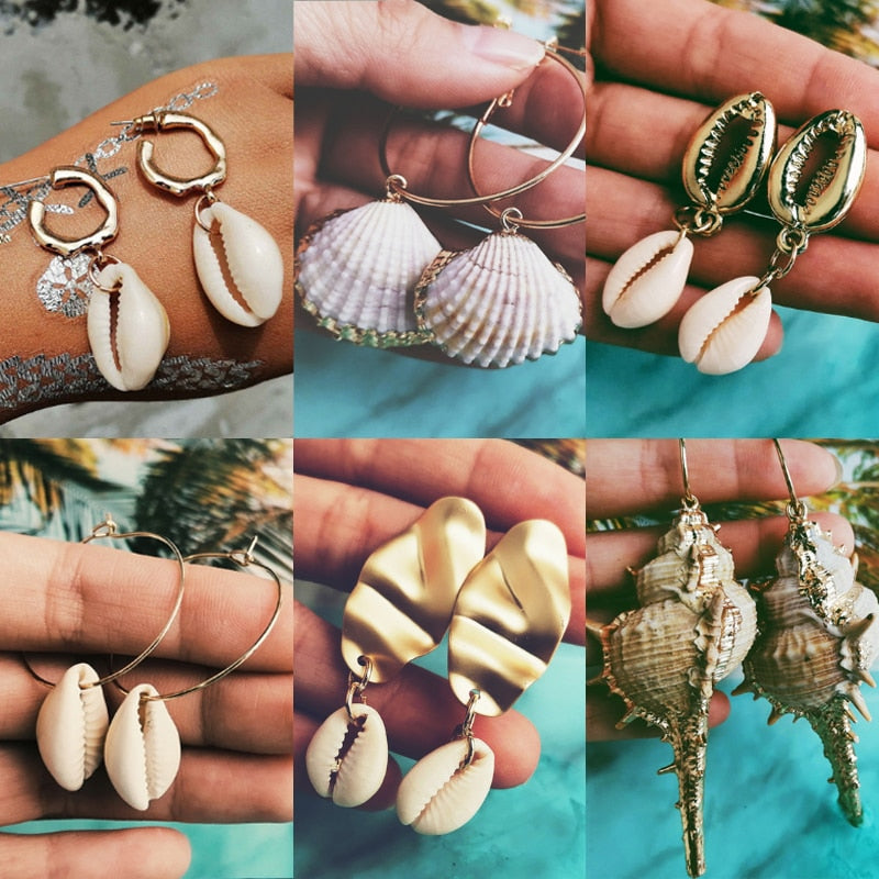BOHEMIAM SEA SHELL DANGLE EARRING