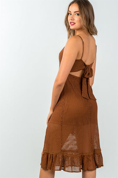Stylish Walnut Sheer Mesh Midi Dress