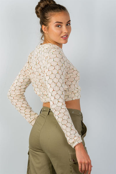 Stylish Hexagon Patterned Pullover Crop Top