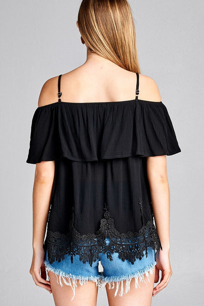 Stylish Black Off Shoulder Crochet Hem Woven Top