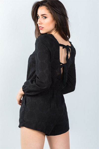 Stylish Black Long Sleeve Romper