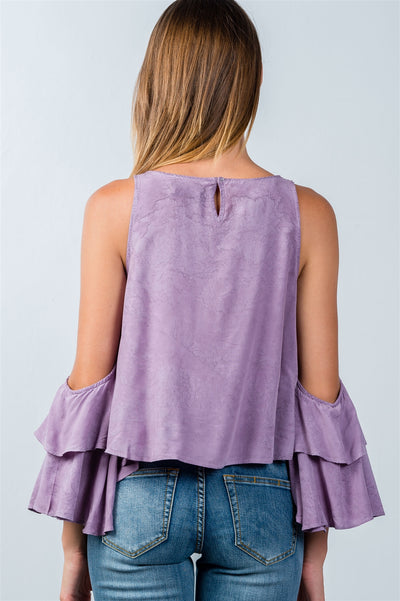 Stylish Open Shoulder Lavender Batwing Top