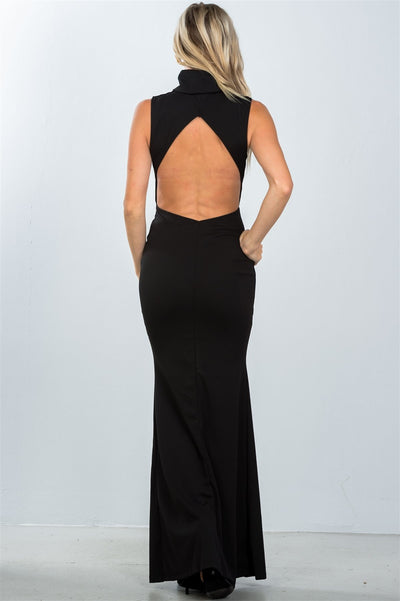 STYLISH BLACK BACKLESS TURTLENECK DRESS