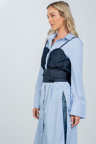 Denim Button Down Bleach-Dye Corset Shirt