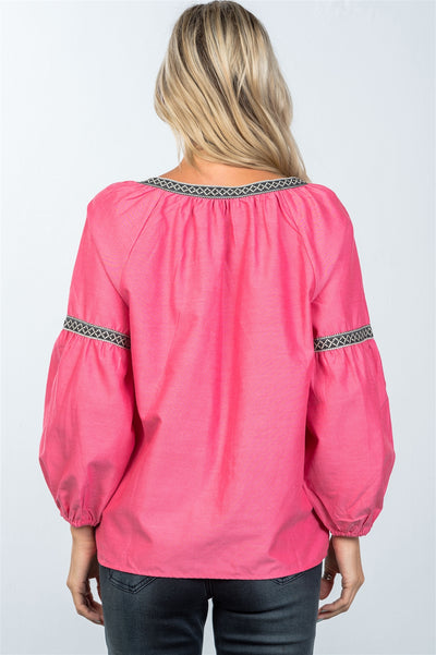 Tomato Red Boho Drop Shoulder Embroidery Blouse