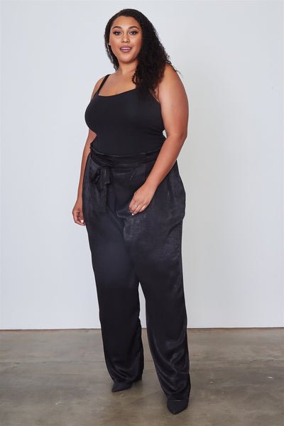 Plus Size Frill Waist Belted Black Pant