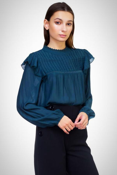 Mock Neck Button Loop Closure Woven Top
