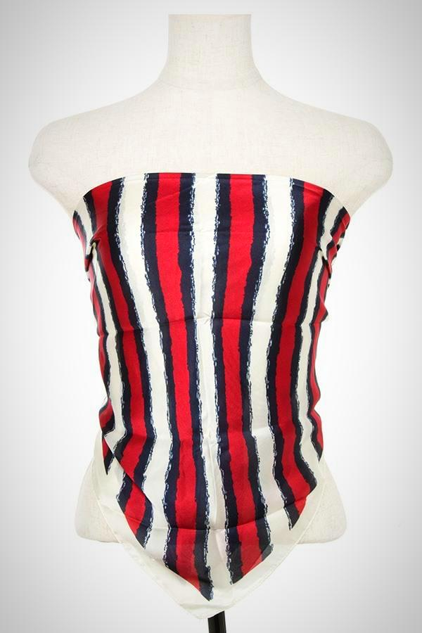 Stripe Silk Polyester Red Imported Scarf