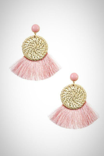 Fashionable Round Woven Fringe Drop Earring