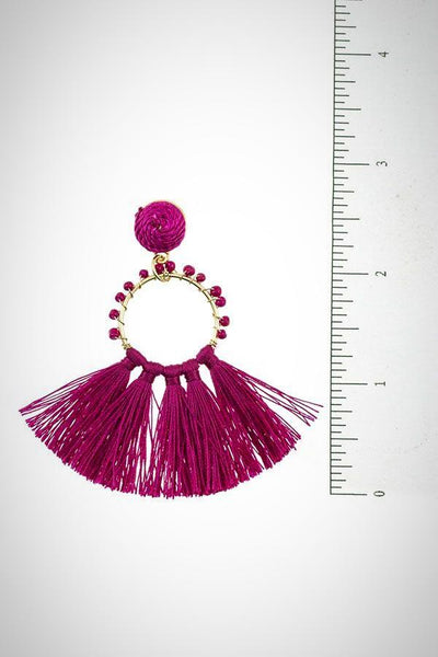 Beaded Ring Tassel Fan Earring