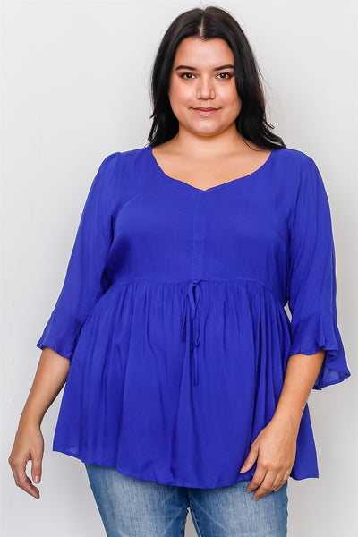 Plus Size 3/4 Bell Sleeves Front Drawstring Baby Doll Top