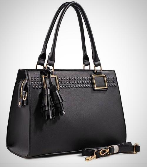 Rear Zipper Pocket Designer Tote Bag with Tassel