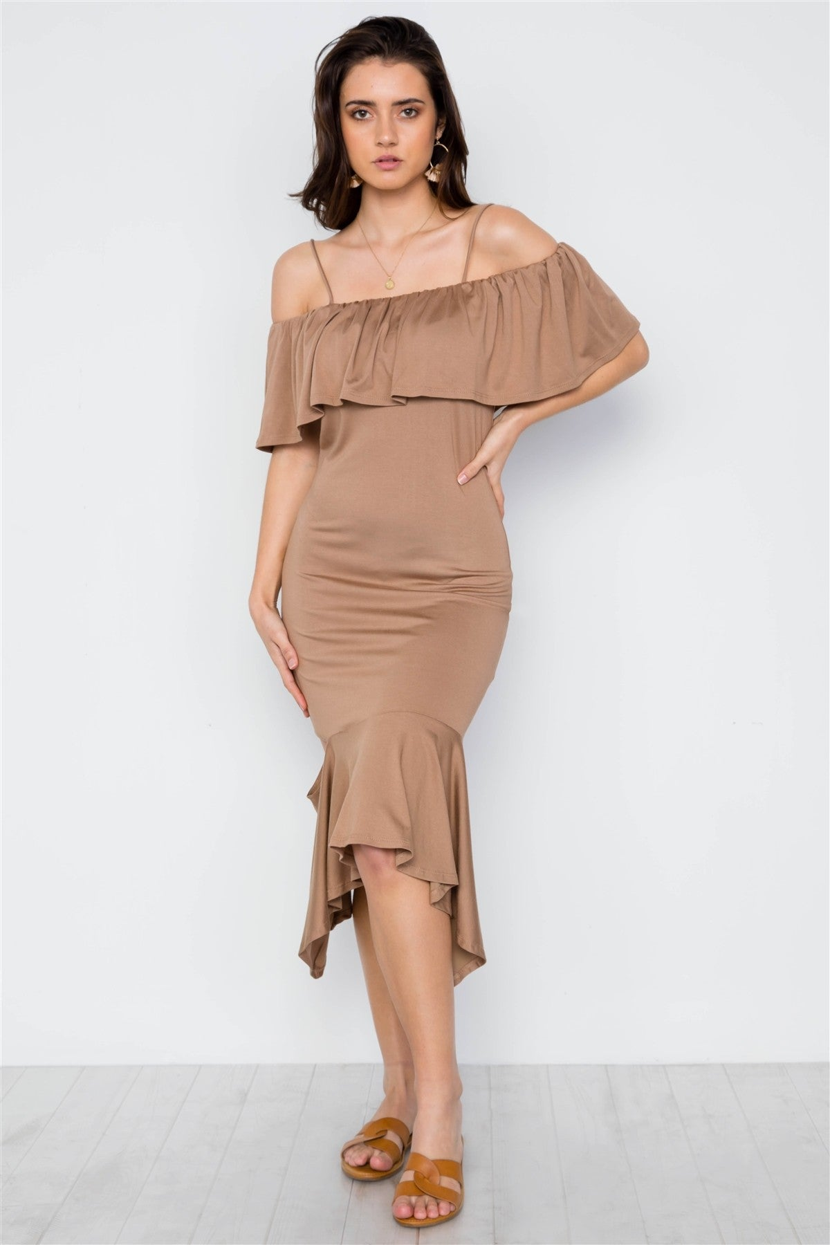 Stylish Mocha Flounce Cut Dress