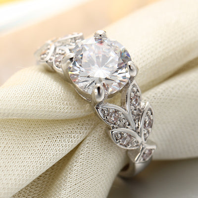 Wedding Cubic Zircon Leaf Crystal Ring