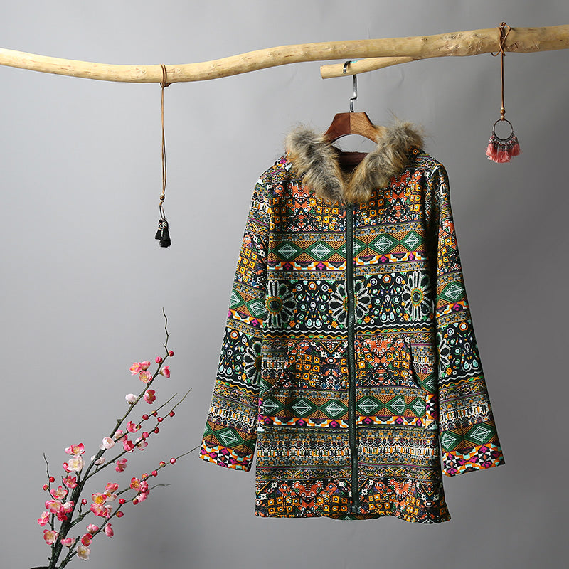 PRINTED FLUFFY FAUX FUR HOODED COAT
