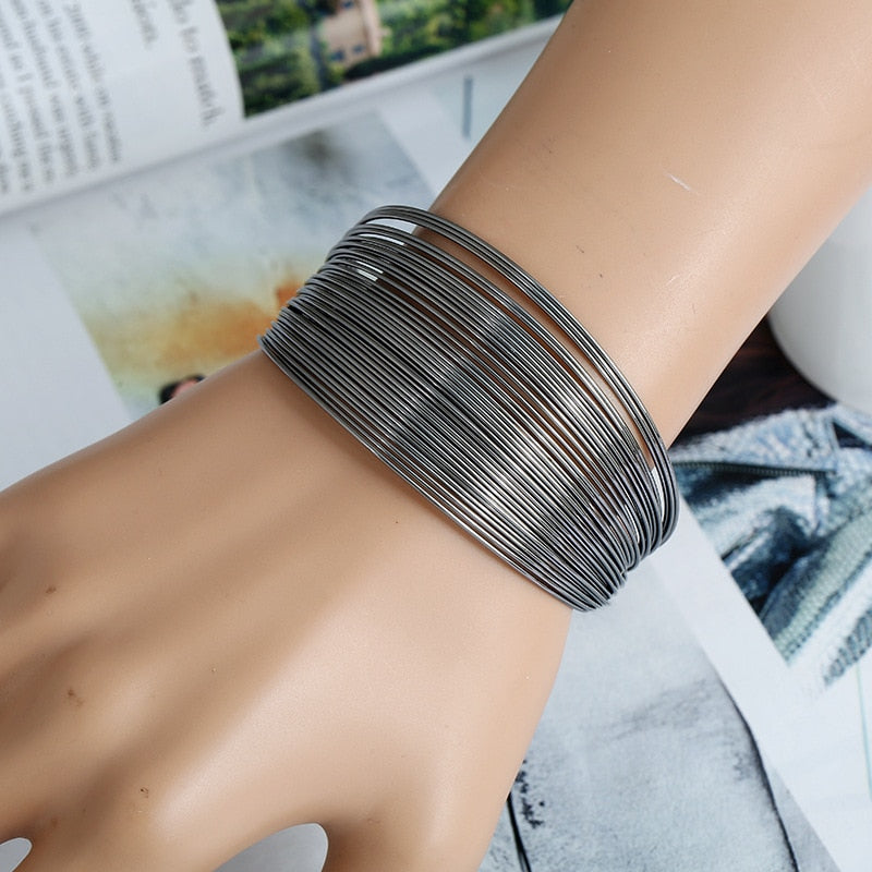MULTILAYER METAL WIRE CUFF BANGLE