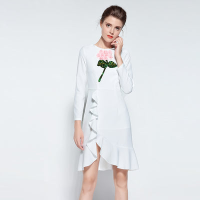 Ladies 3D Flower Vintage Ruffle Dress