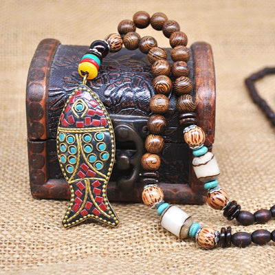 Ladies Ethnic Bohemian Fish Pendants & Tribal Necklace
