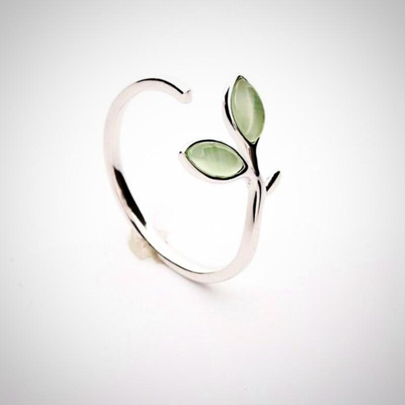 Ladies Green Opal Leaves Buds Open Rings