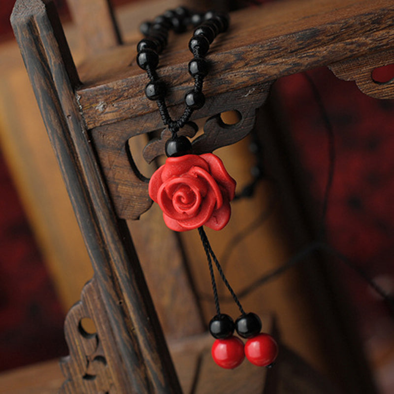 Ladies Lacquerware Beaded Rose Flowers Necklace
