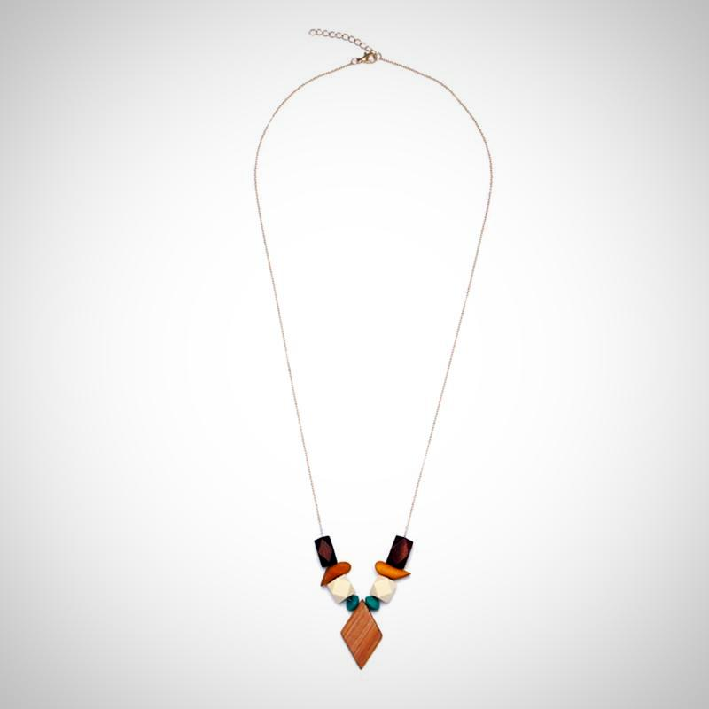 Ladies Multicolor Geometric Wood Pendant Necklace