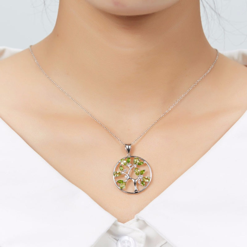 Ladies Natural Peridot Tree Pendant Necklace