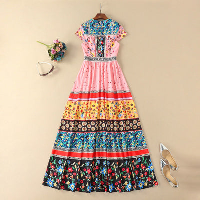 Ladies Newest Casual Style A-Line Short Sleeve Print Flower Long Dress