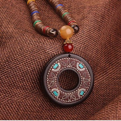 Ladies Vintage Ethnic Wood Necklace