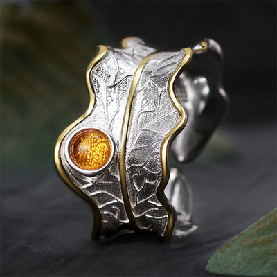 ADJUSTABLE PEONY LEAF RING