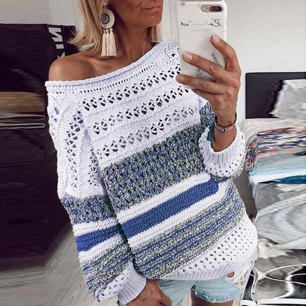 KNITTED HOLLOW OUT LONG SLEEVE SWEATER