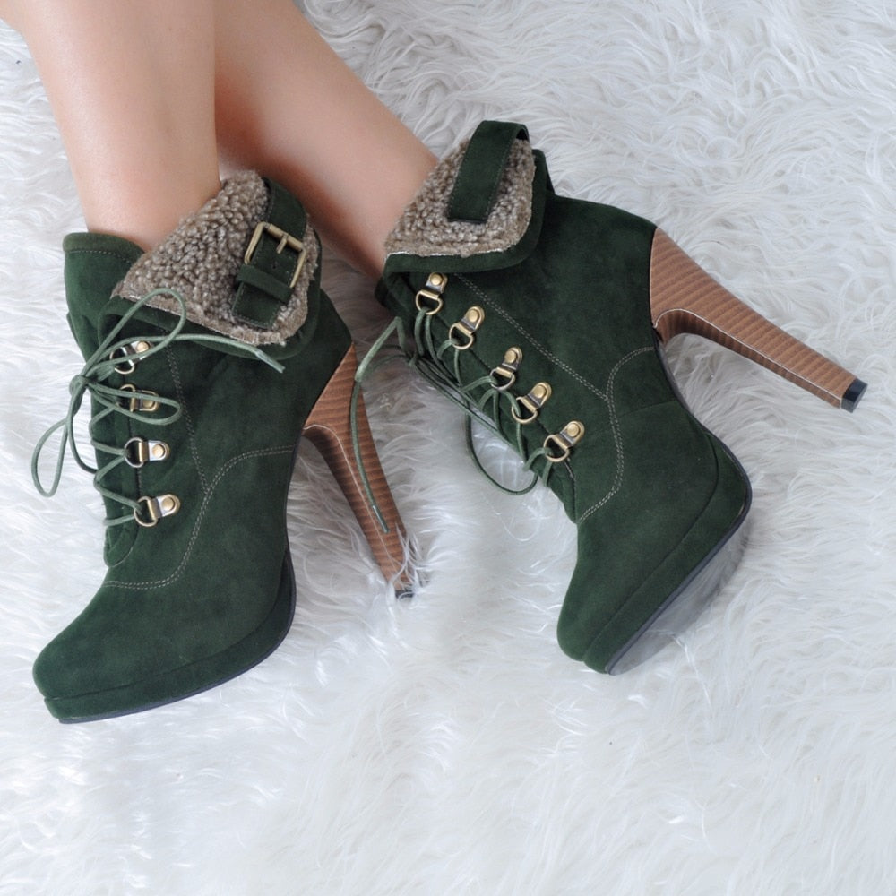 Round Toe Thin High Heels Ankle Boot