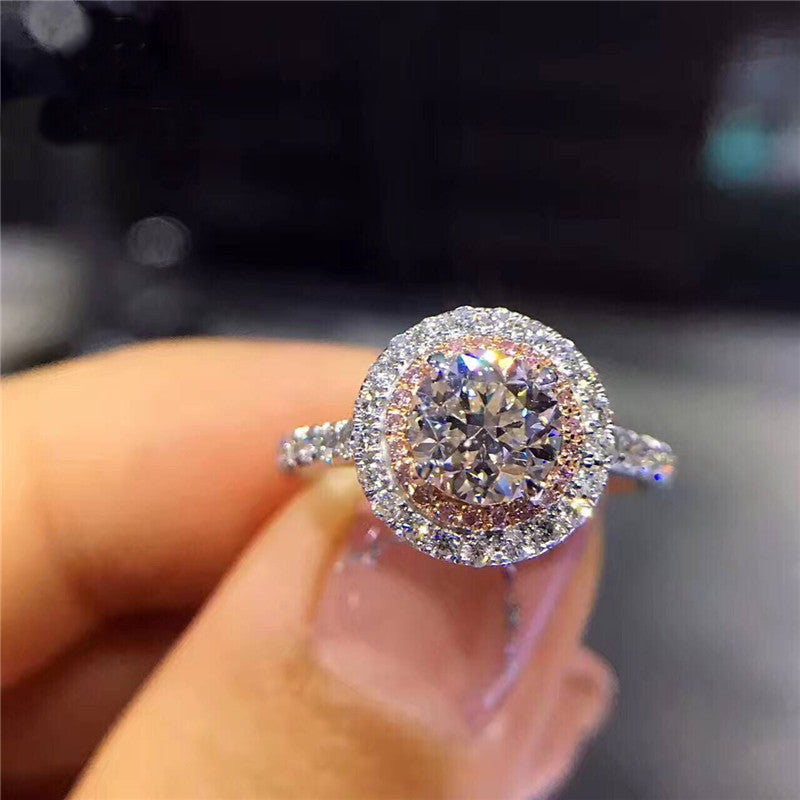 Charms Queen Princess Round Pink Stone Bridal Ring
