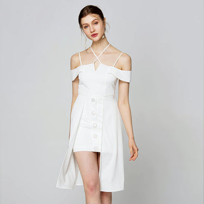 Slash Neck Spaghetti Strap Hollow Out Dress