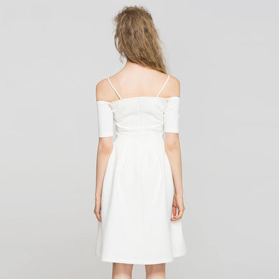 Spaghetti Strap Off Shoulder Backless Dress