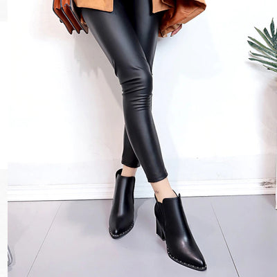 Woman British Style Rivet Martin High-Heeled Ankle Boot