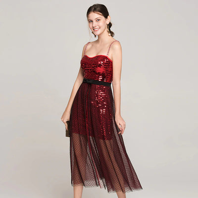 Sexy Sequined Spaghetti Strap Dress