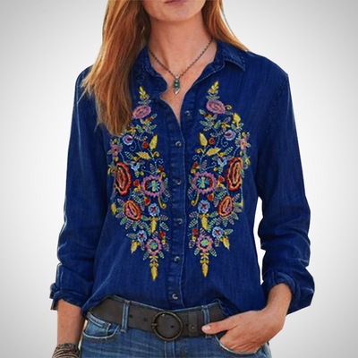 VINTAGE EMBROIDERED DENIM TOP