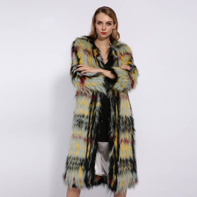 KNIT ROUND NECK WARM FOX FUR COAT