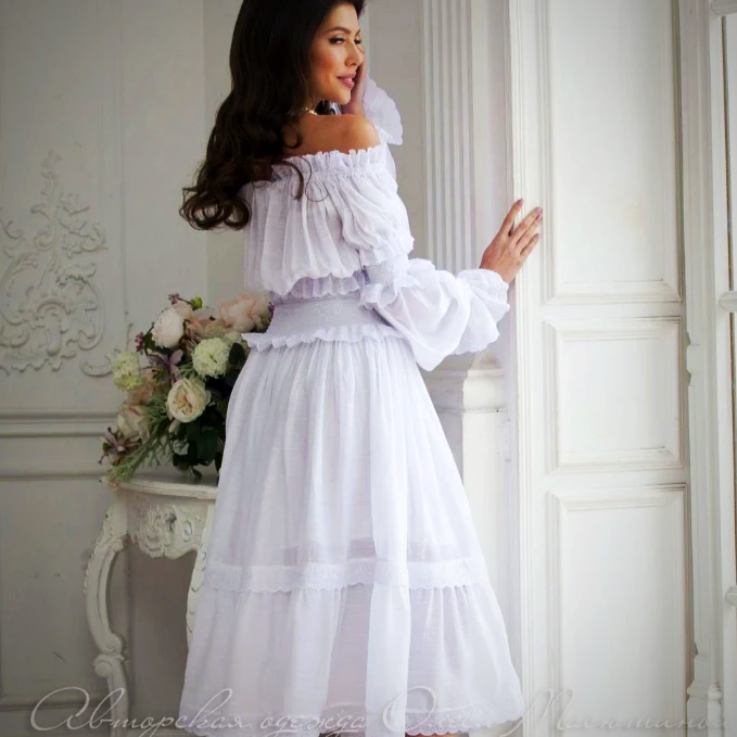 Charming summer snow-white dress