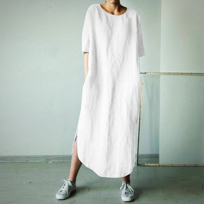 SOLID COTTON LINEN DRESS