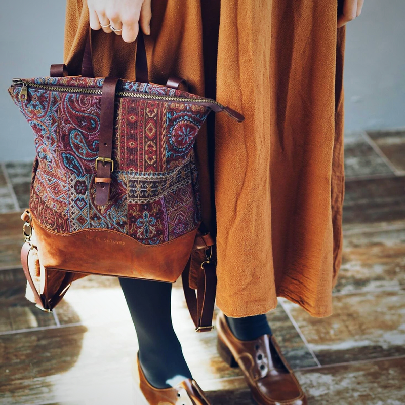 Boho Leather Laptop Backpack