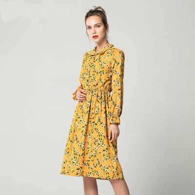 High Elastic Waist Vintage Dress