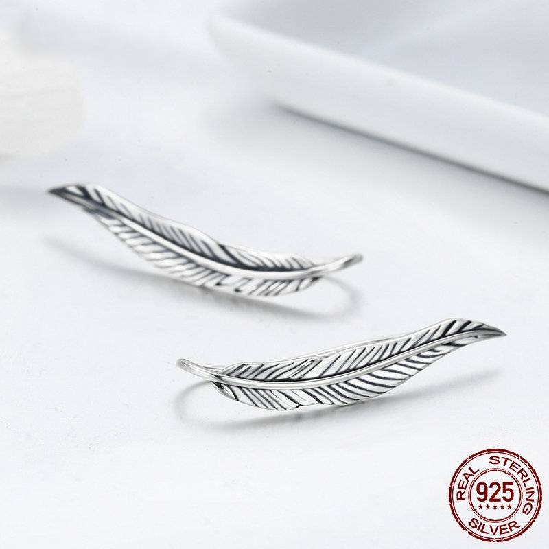 SILVER VINTAGE FEATHER WINGS CUFF EARRING