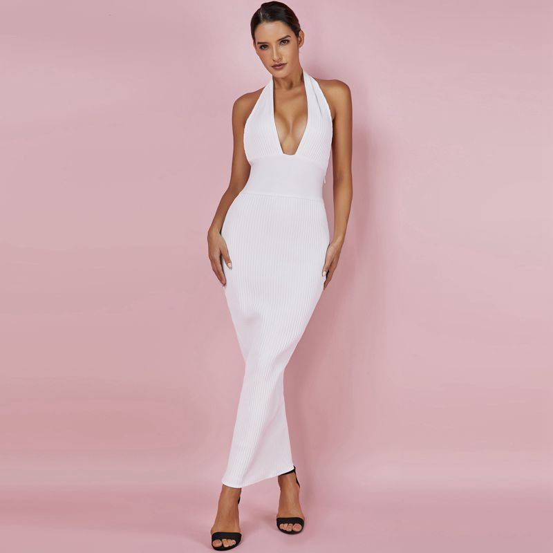 Casual Backless Summer Maxi Bandage Wrap Dress